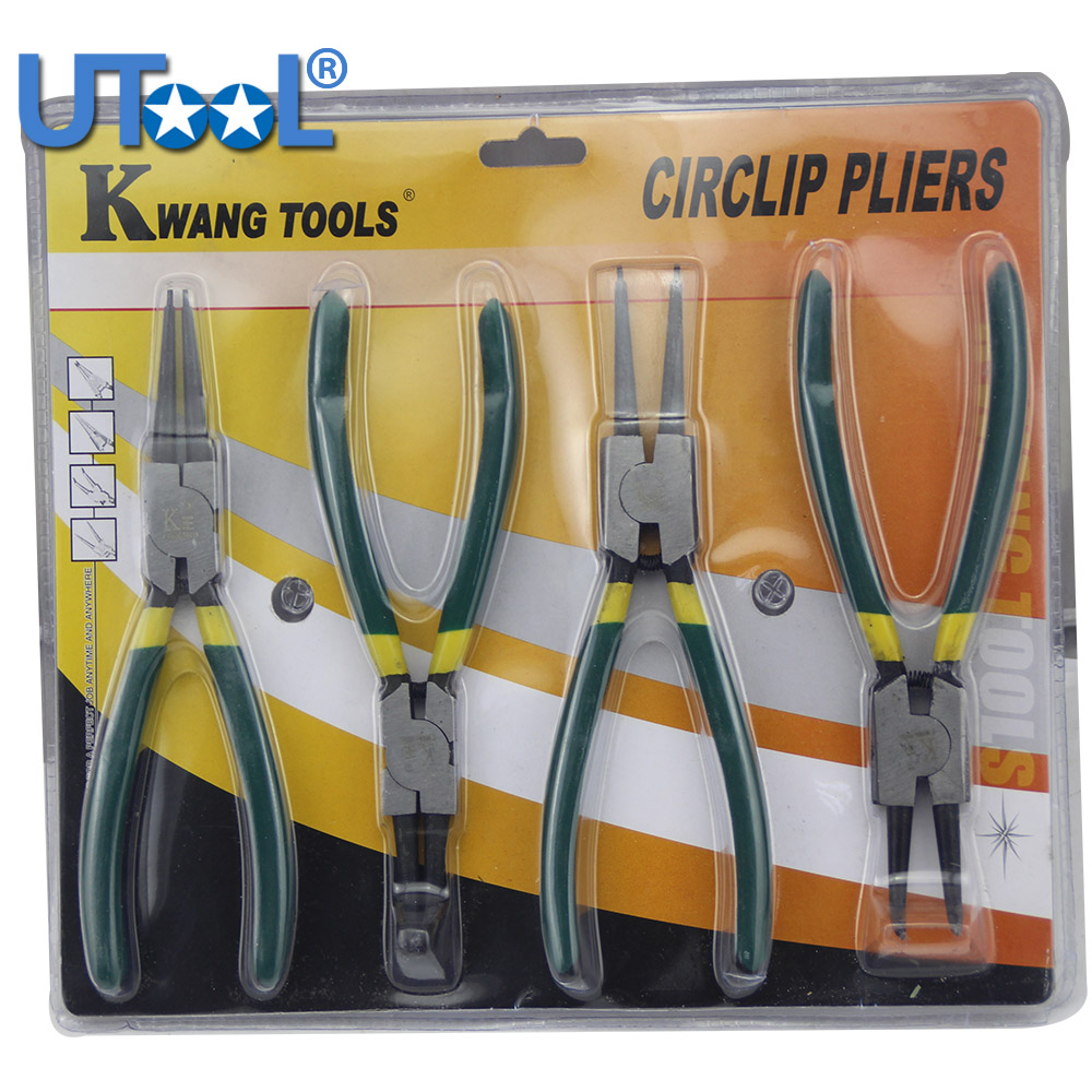 4Pcs7 Inch Circlip Pliers Inside Outside Retainer Spring Forceps Pliers Snapring Plier Mechanical Tools