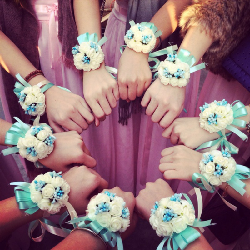 Bandage Bridal Wrist Flower Children Dance Flower Hand Artificial Flowers Of The Bride For Wedding Party Decoration
