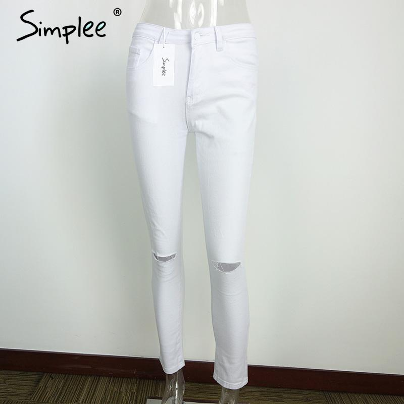 white ripped skinny jeans for women