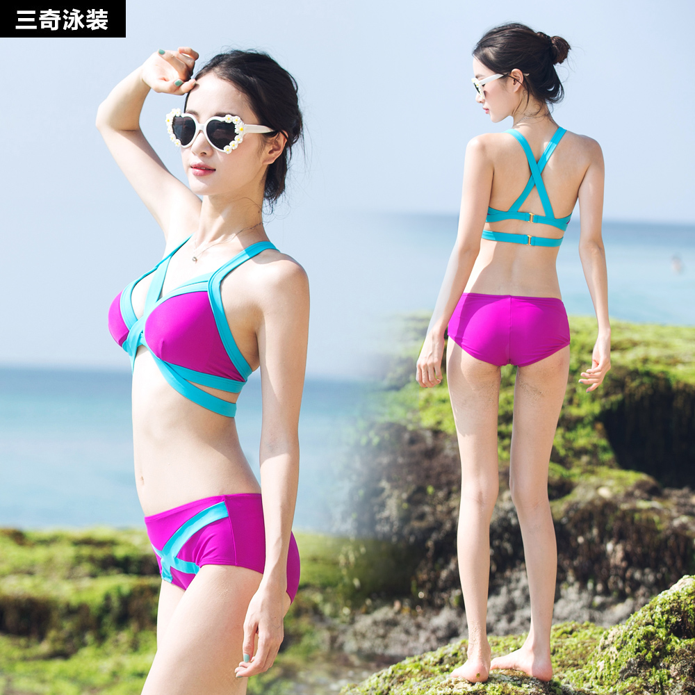 Swimsuit Female Sleeveless Split Flat-angle Small Chest Gathered To Cover Belly Slim Sexy Hot Spring Swimwear Suit Swimming