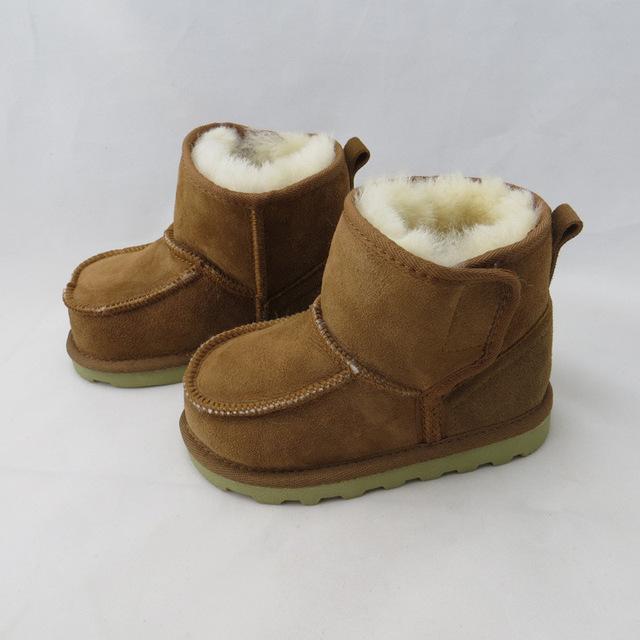 2016 Rusia Bebé de Nieve en Invierno Botas de Piel Caliente Muchachas de Los Bebés Botas de Cuero Geanuine Australia Zapatos de Niño De 1-4 Edad