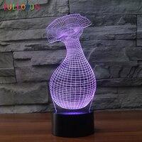 LED Night Lights Flower Vase Model USB 3D Lamp Beautiful Gift As Bedroom Decorative Night Lamp