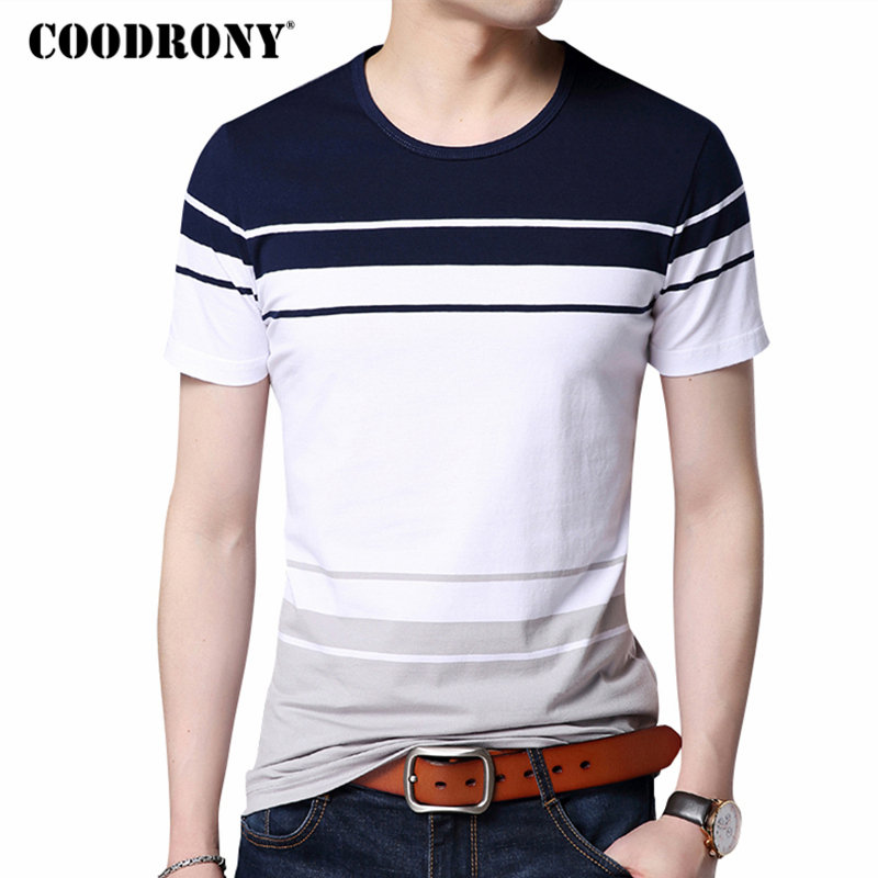 COODRONY O-Neck Cotton Tee 2018 Spring Summer New Casual Short Sleeve   T     Shirt   Men Brand Clothing Big Striped   T  -  Shirt   Homme S7638