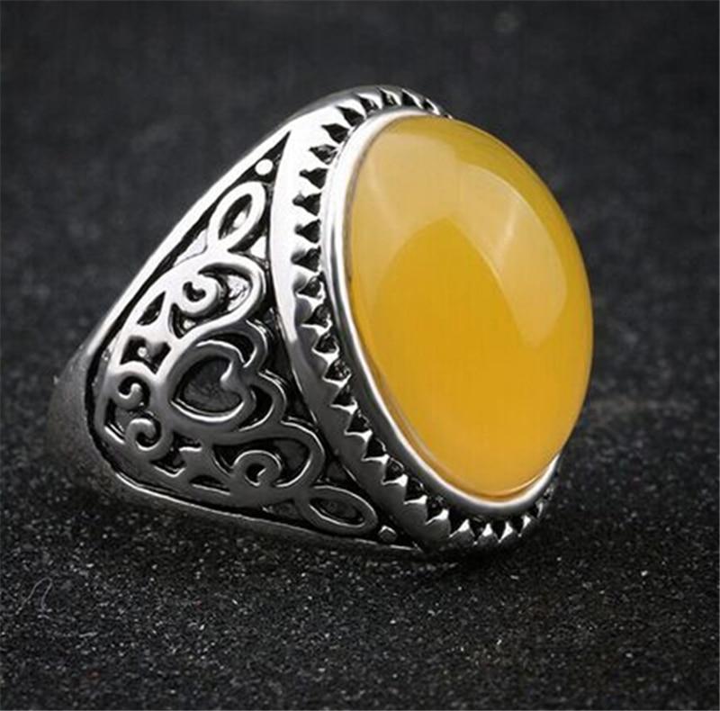 2016 Vintage Yellow Stone Rings Men Hot Selling Tibetan