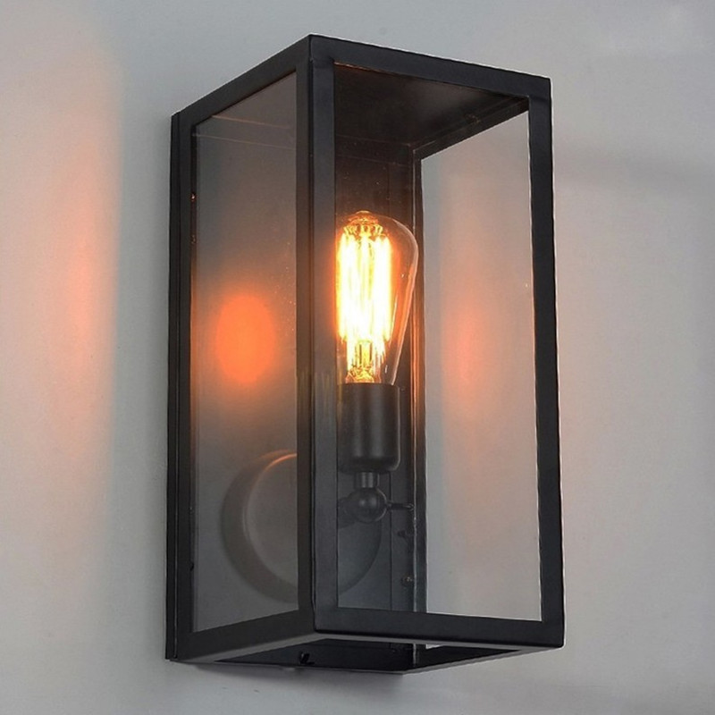 Vintage Wall Sconce Clear Class Cover Outdoor Wall Light