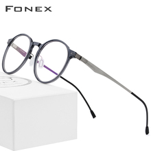FONEX Acetate Optical Glasses Frame Women Retro Round Prescription Eyeglasses New Circle Myopia Spectacles Men Screwless Eyewear