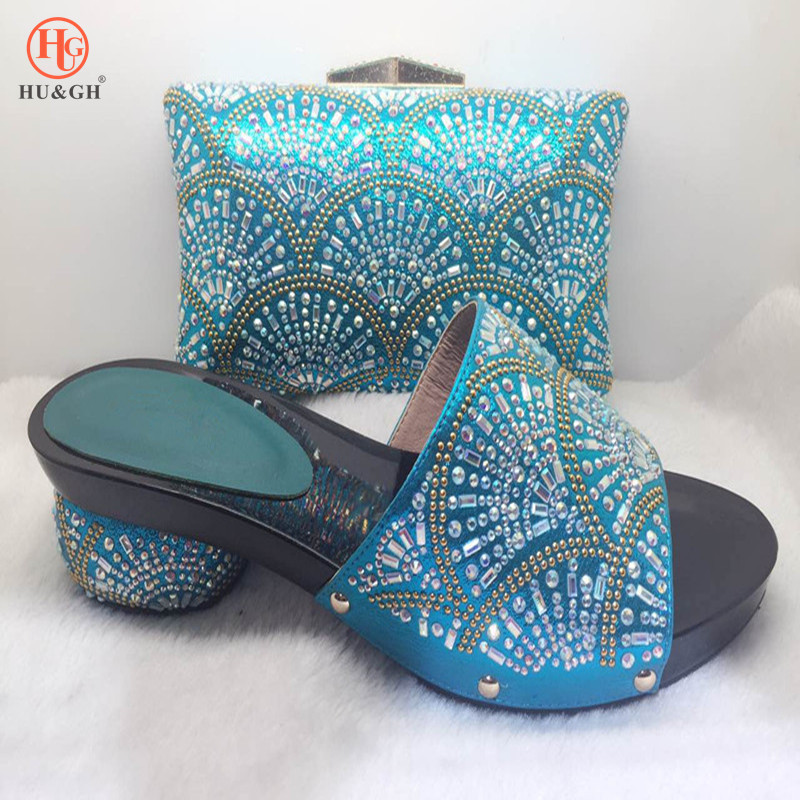 2018 New Sky Blue Party Slip Shoe On Mature Italian Shoes With Matching Bags Rhinestones High Quality African Shoes and bag set african lady shoes and bag matching set for high quality for sky blue size 38 42 beautiful plum italian shoes and bag wow36