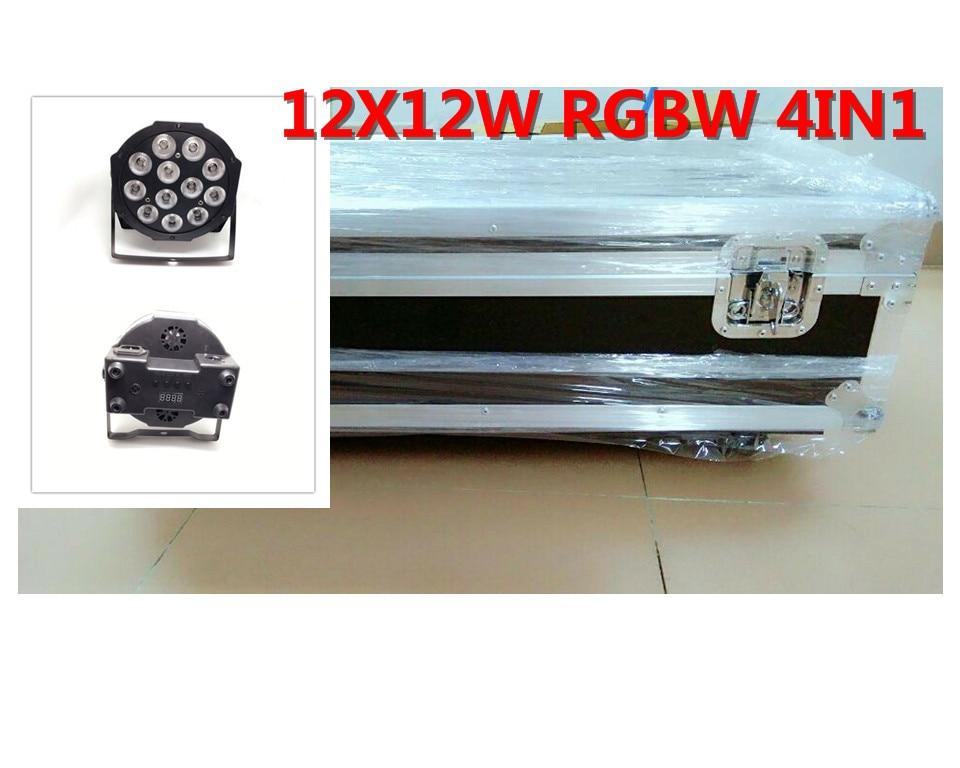 10pcs 12x12W+ flightcase +1.2m Dmx cable LED Flat SlimPar Quad Light 4in1 LED DJ Wash Light Stage dmx light lamp 4/8 channes