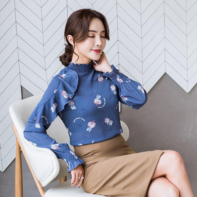 2018 A top women print ruffles decor office lady cloth new spring shirt jacket super long-sleeved chiffon unlined upper garment