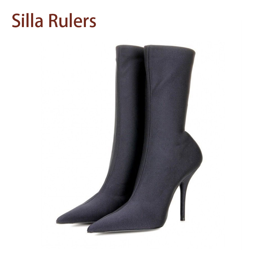 Siller Rulers Sexy Lady Silk Satin Elastic Thin Heel Pointy Toe Boots 2018 Spring Summer Most Fashionable Mid-calf Short Bota