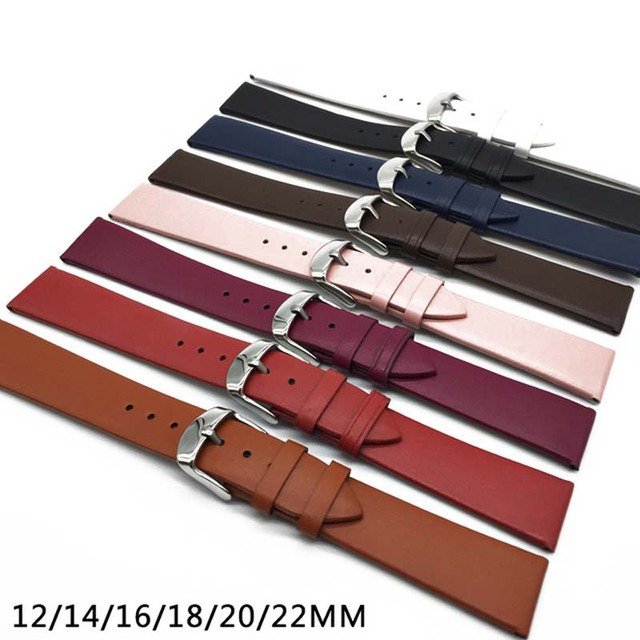 8 fashion color 12MM 14MM 16MM 18MM 20MM 22MM smooth grain genuine leather cow s