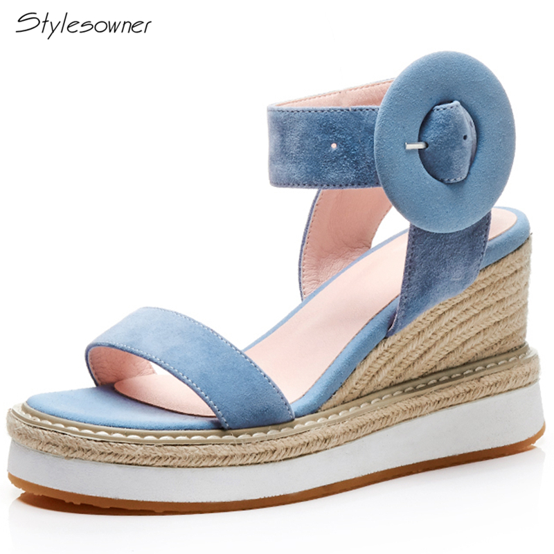 Stylesowner Women Big Buckle High Heels Summer Shoes Platform Wedges Sandals Women Suede Espadrills Platform Shoes Ladies Heels stylesowner fashion women rivets pearl platform wedges flower sandals buckle metal high heel ladies sandals summer platform shoe