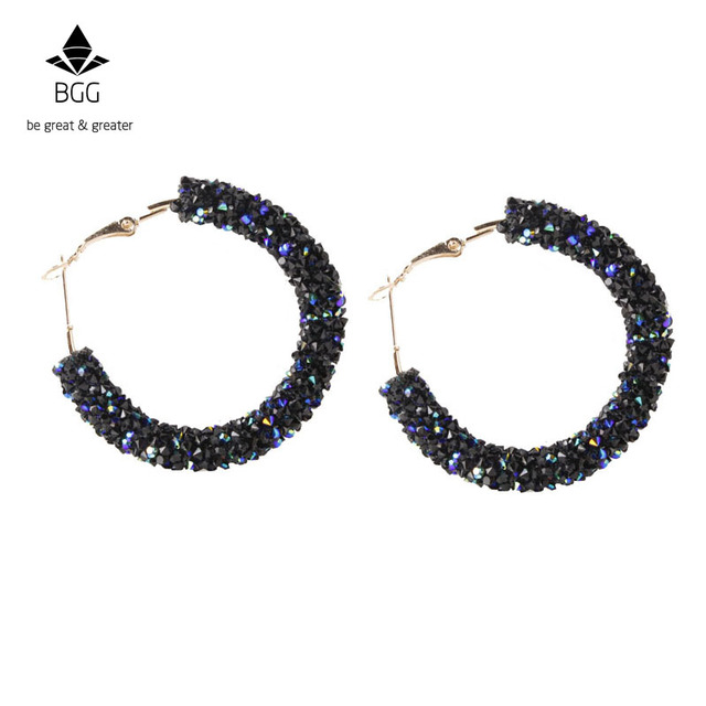 BGG Brand New Design Fashion Charm Austrian Crystal Hoop Earrings Geometric Round Shiny Rhinestone Big Earring Jewelry Women