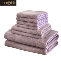 Bonenjoy 8pcs Bathroom Towel Set Sport Towels Quick Dry Hair Toallas Purple Color Face Towel Microfiber