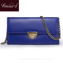 Contact's Luxury Brand Shoulder Bag For Women Flap Bags Clutch With Chains Genuine Leather Ladies Cell Phone Purse And Handbags(China)