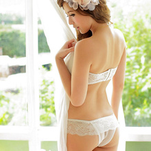 Top strapless underwear built in bustier bra & sexy panties