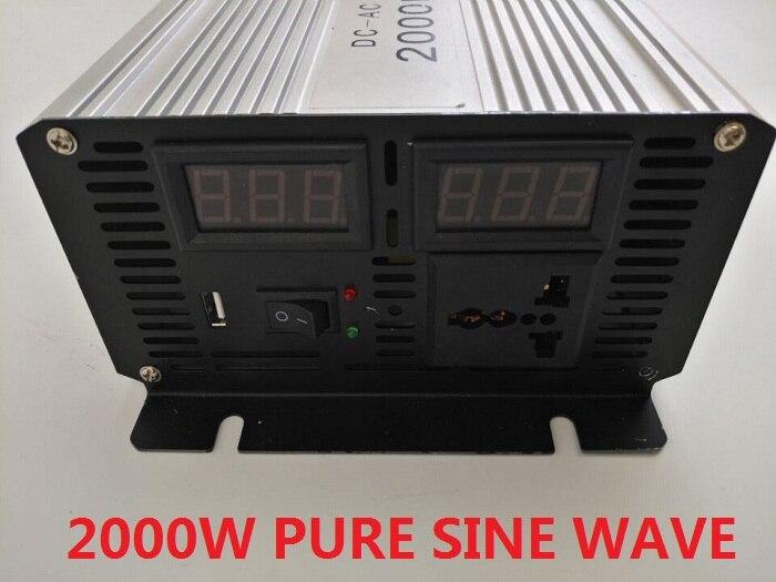 peak power 4000W inverter 2000W dual digital display DC12V/24V/48V to AC220V pure sine wave power inverter with USB charger plastic car dc12v 24v to ac220v power inverter with usb port black