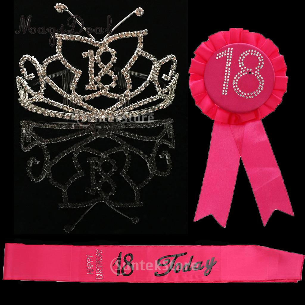 18th Happy Birthday Rhinestone Silver Tiara Headband Badge