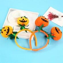 Halloween Pumpkin Ball Headband Masquerade Adult Child COS Props Festival Party Smiley face Headwear hair ornaments