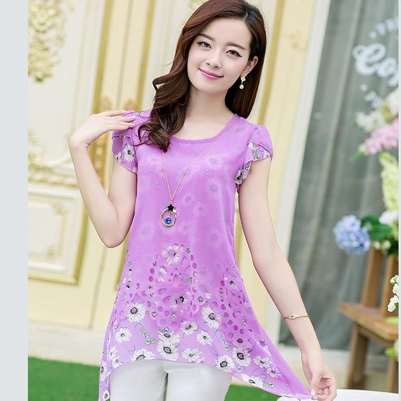 Plus Size Women Chiffon Blouse 2018 summer short sleeve Hollow Out fashion print office ladies shirt purple slim top loose blusa