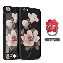 ASINA 360 Full Cover Case For iPhone 8 Floral Flower Pattern Cases 6 6s 7 Plus X Black Protective Bumper Fundas