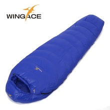 WINGACE Fill 4000G Goose Down Mummy Sleeping Bag Adult Nylon Outdoor Camping Winter bag For Tourists Climbing Hiking