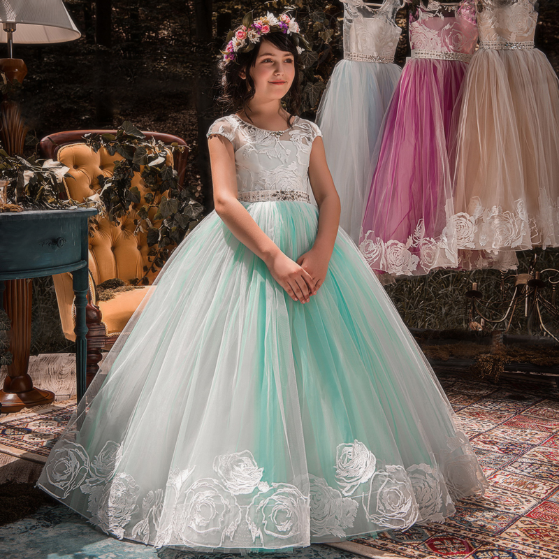 324f910dcfc91 Teenage Girl Christmas Party Dress Mint Flower Girls Wedding Gown Lace  Rhinestone Kid Children Evening Prom
