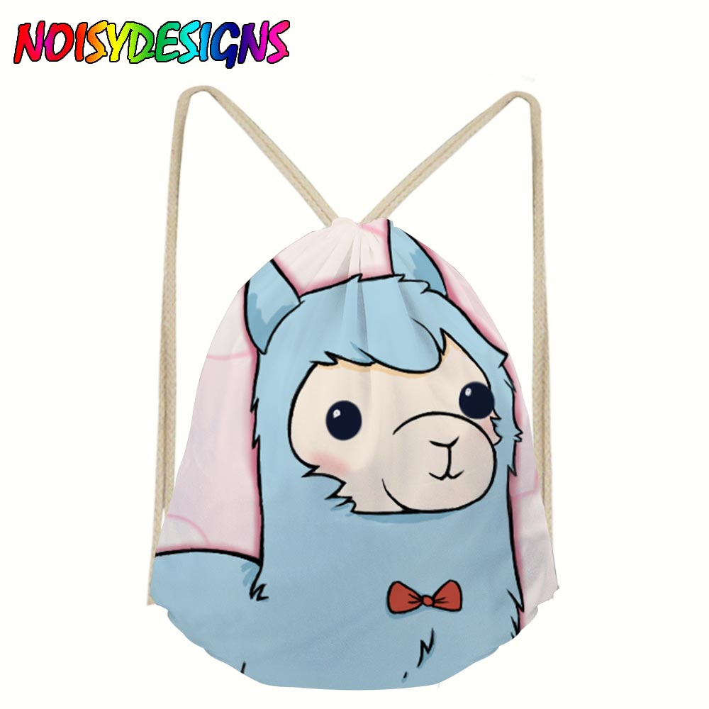 NOISYDESIGNS Drawstring Bags Girls Custom Alpaca Printed Backpacks Canvas Rucksack Storage Bags Softback Women's Mochila Rugzak