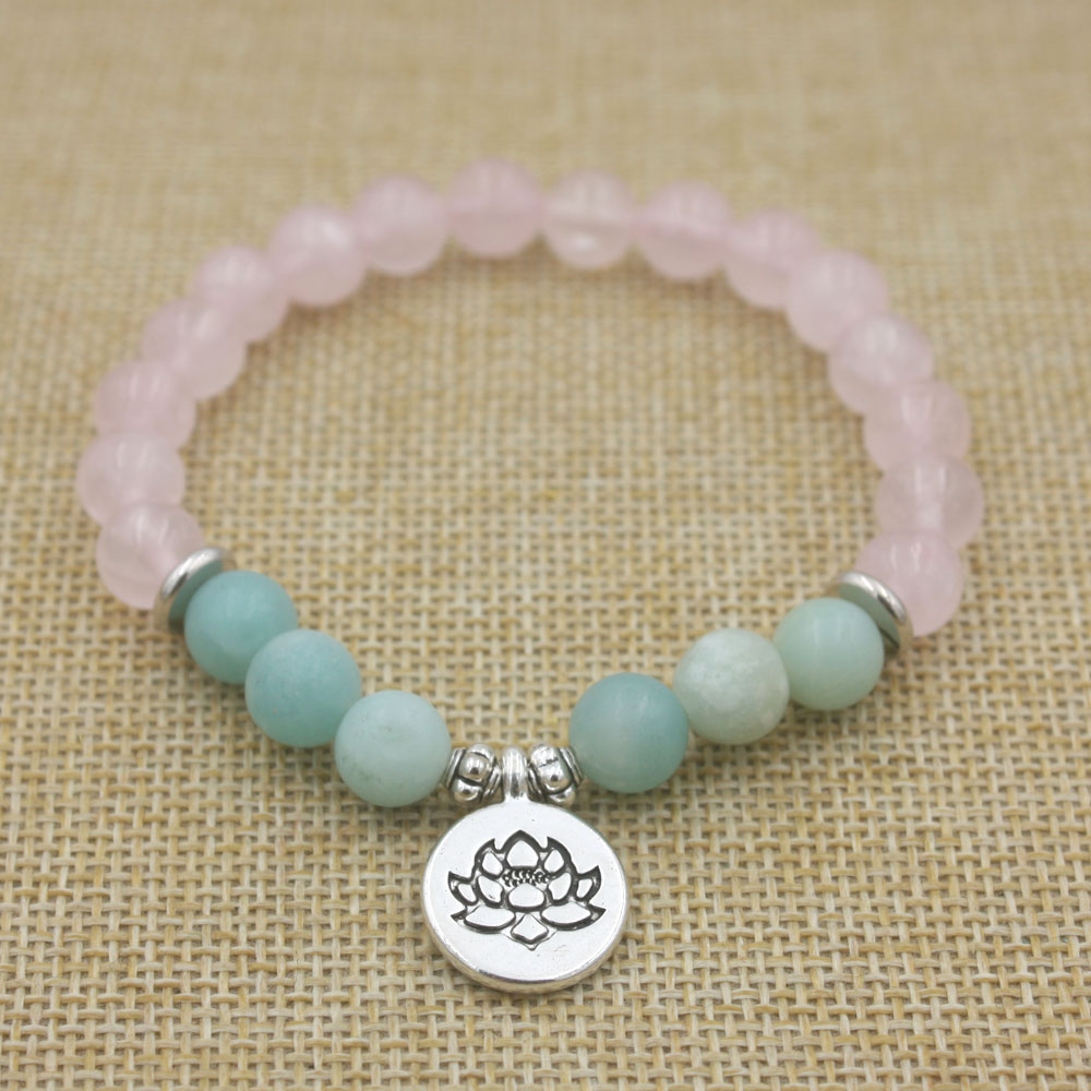 Rose Quartz and Amazonite Mala Bracelet 2