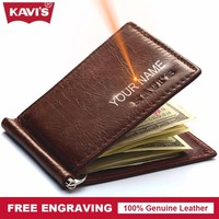 KAVIS Slim Brand Men Small Genuine Leather Male Thin Purse Wallet Money Clip Female Clamp for Money Card DIY Gift for Man Women