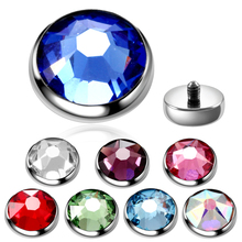 1PC Titanium Dermal Piercings Micro Anchor Threading Top Skin Diver Crystal Hide in Surface Body Jewelry