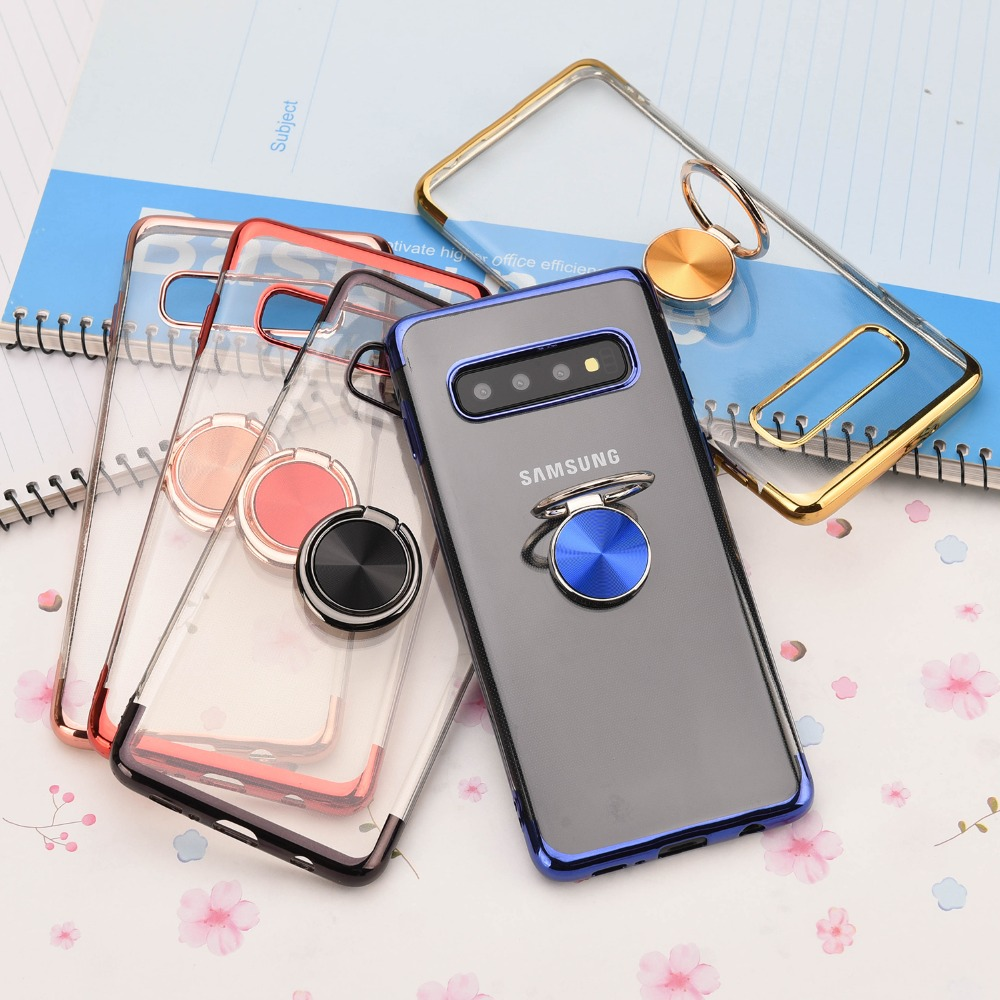 For <font><b>Samsung</b></font> Galaxy S8 <font><b>S9</b></font> S10 Plus S10 lite Ultra Thin Transparent <font><b>Phone</b></font> <font><b>Case</b></font> Car Magnetic <font><b>Cases</b></font> Finger Ring <font><b>Holder</b></font> Cover Coque image