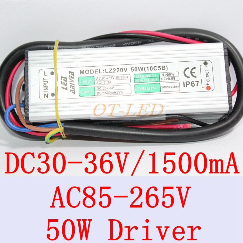 2pcs 50w led driver for 50w led grow chip , IP67 waterproof , DC20-36V ,DC1500MA , constanct current power supply 90w led driver dc40v 2 7a high power led driver for flood light street light ip65 constant current drive power supply
