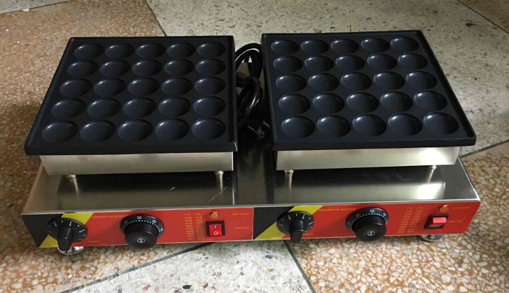 Free Shipping 50 Pcs Electric 110v 220v Mini Pancake Machine Poffertjes Grill Dutch Waffle Maker 2017 electric 110v 220v 25 holes poffertjes grill dutch waffle maker mini pancake machine