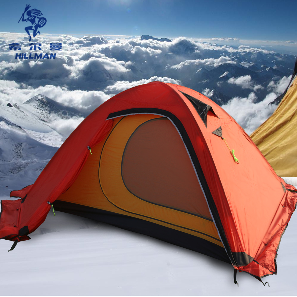Hillman 2 homme neige montagne ultra-léger peint en silicone double couches tentes aluminium pôle Camping alpinisme tente 4 saison