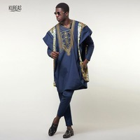 Kureas Agbada African Suits for Men Dashiki Business 3PCS Set Navy Blue Boubou Africa Clothing Formal Attire Clothes Bazin