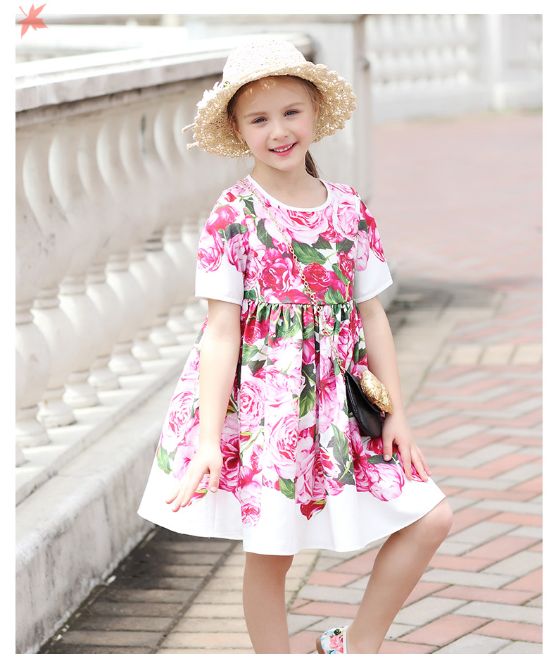 Summer children clothing baby Aline bohemian big hem red rose flower casual dress teenager 3-14T kids girl fashion party dresses купить в Москве 2019