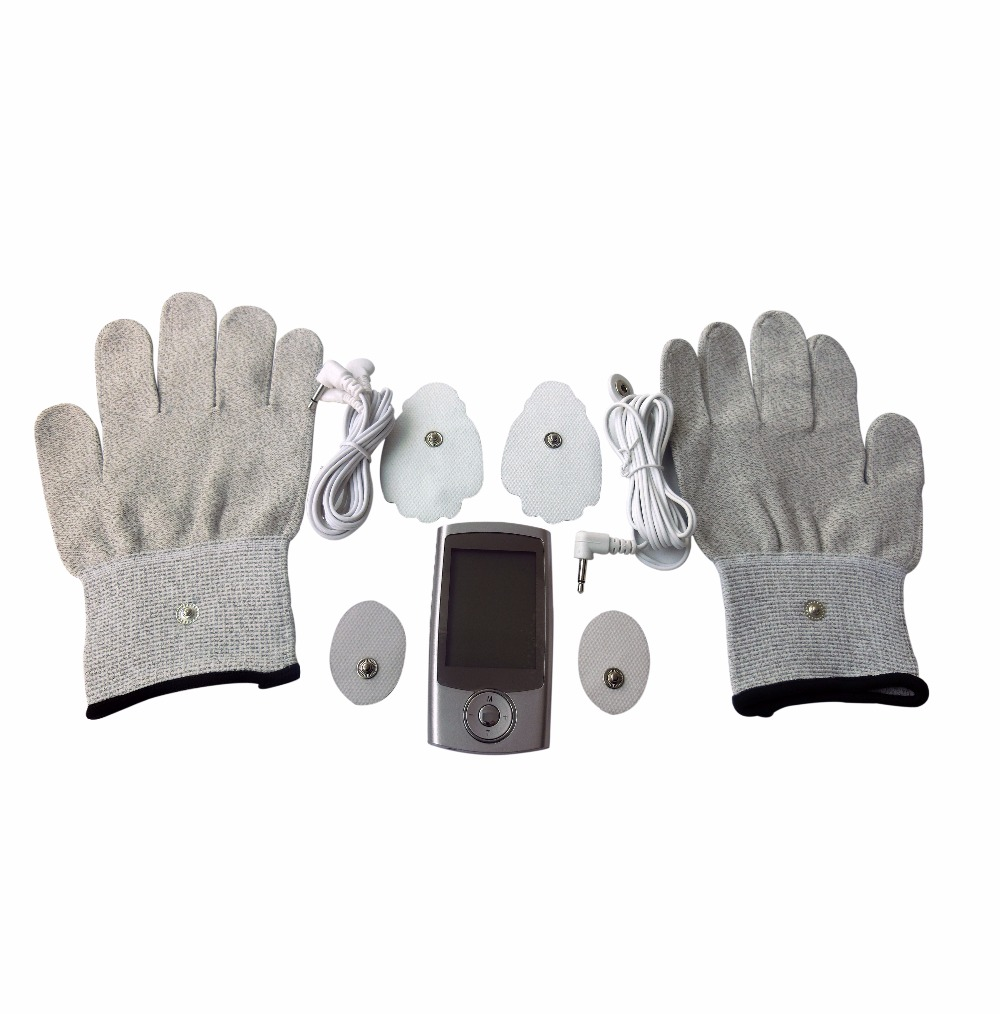 TENS Body Massager 16Modes Digital Therapy Machine Muscle Stimulator+1Pair Hands Care Conductive Electrode Fiber Silve Gloves 2017 hot sale mini electric massager digital pulse therapy muscle full body massager silver