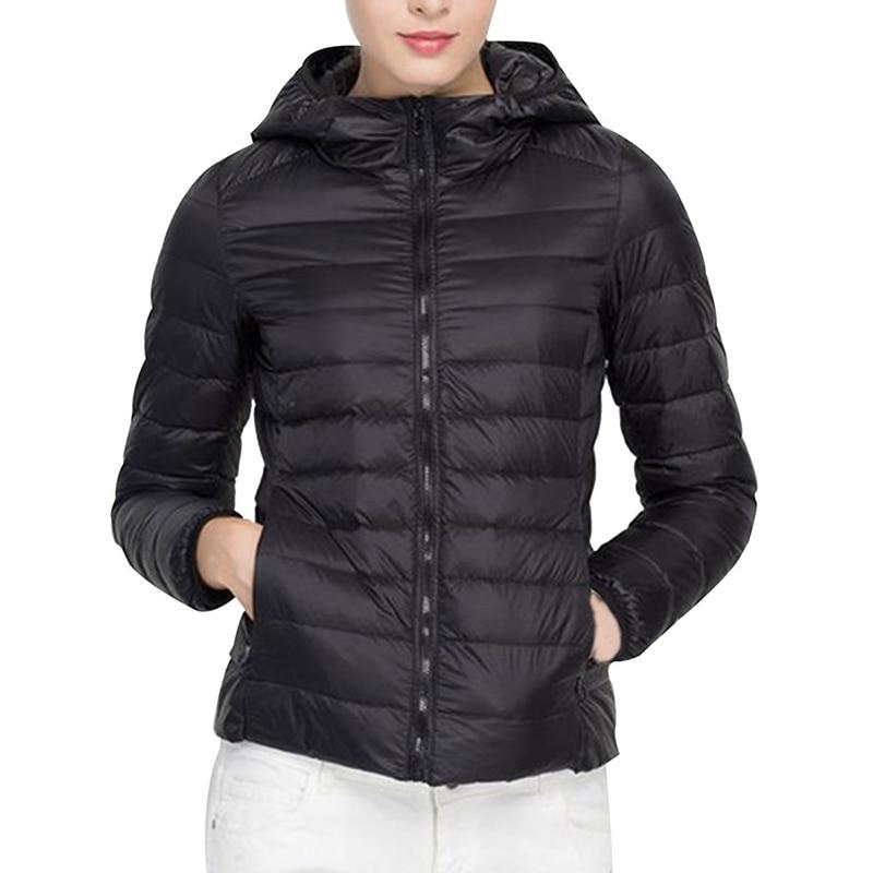 2018 Winter Women Ultra Light Down Jacket Duck Down Hooded Jackets Long Sleeve Warm Slim Coat Parka Female Solid Portabl Outwear
