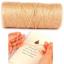 ธรรมชาติ 100 เมตร Jute Twine Burlap กัญชาเชือกสายสำหรับงานแต่งงานของขวัญห่อ DIY Scrapbooking ดอกไม้ Craft