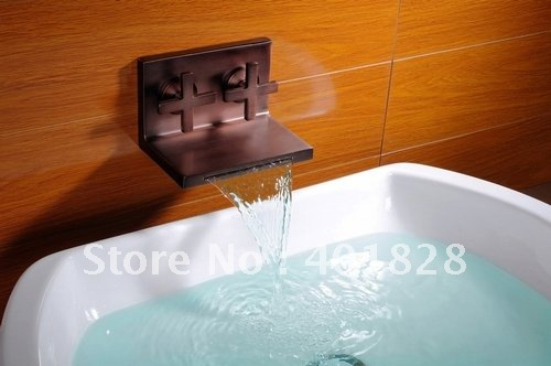 Two Handles Wall Mounted Waterfall Bathroom Sink Faucet Or