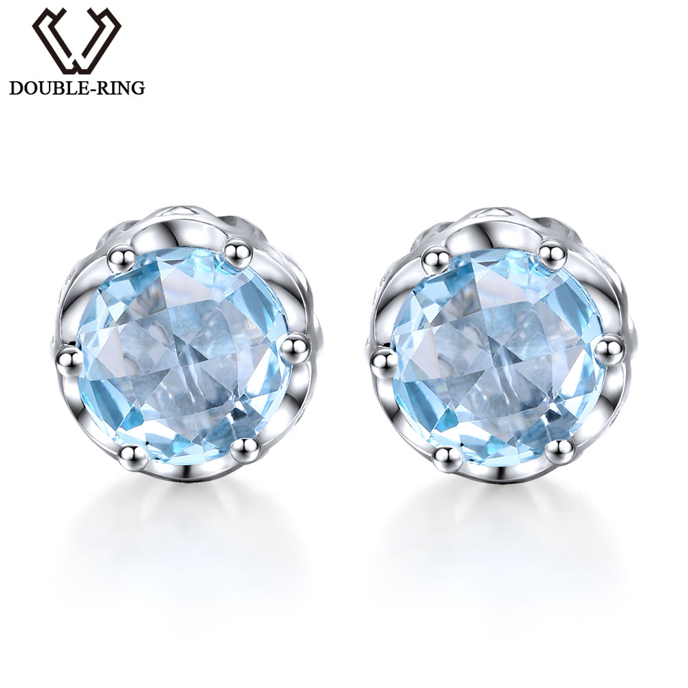 Natural Blue Topaz Earrings in 925 Sterling Silver 3 76ctw Round Gemstone Stud Earrings For Women