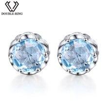 DOUBLE-R 3.76ct Blue Topaz wedding Stud Earrings for women Classic Gemstone 925 sterling silver find jewelry earrings