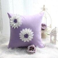 الأرجواني البوليستر وسادة وسادة الزخرفية ل أريكة/سرير هما الأبيض الزهور المطبوعة تصميم جميلة وناعمة للفتيات
