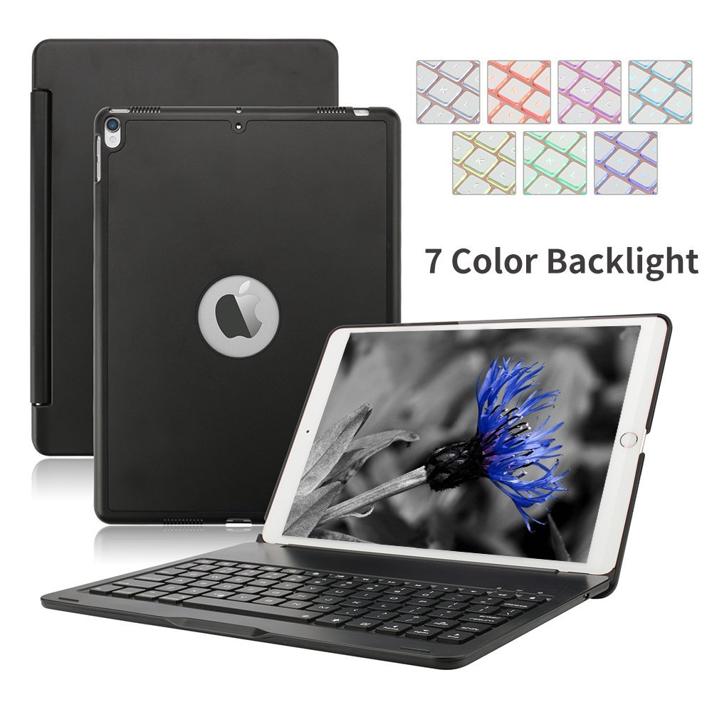 For Apple iPad Pro 10.5 Keyboard Case, Backlit Aluminum Wireless Bluetooth Keyboard Case for Apple iPad Pro Cases with keyboard for apple ipad pro 10 5 keyboard case 7 colors backlit aluminum slim mini lithium battery bluetooth wireless keyboard cover j02t