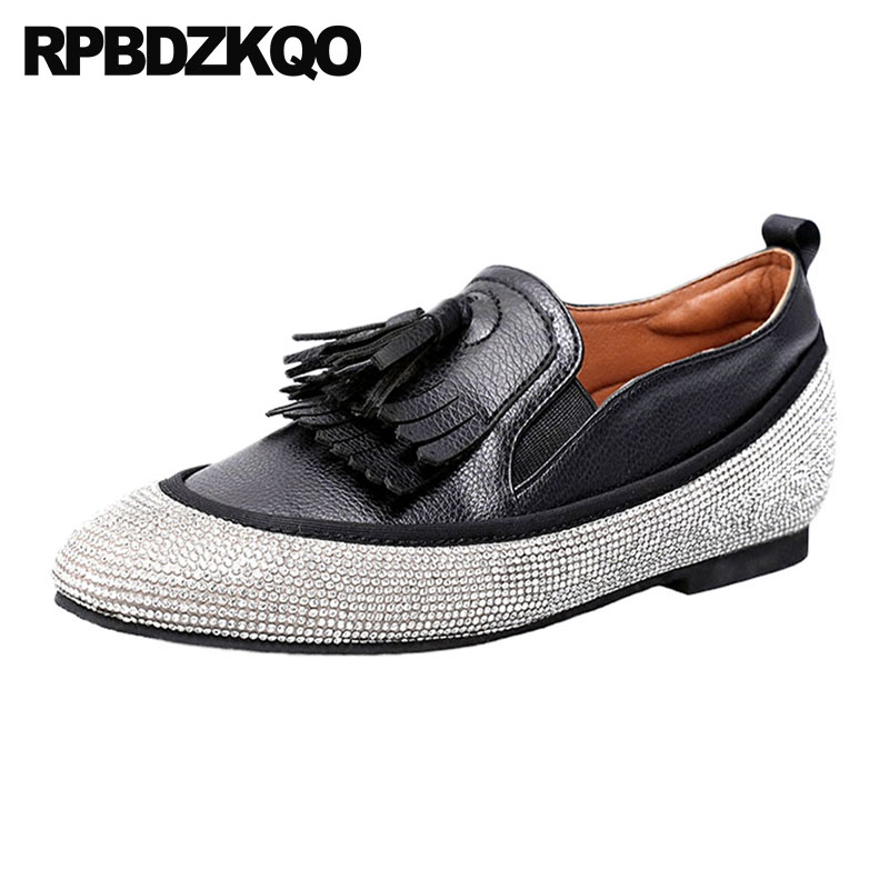 10 Black Crystal Designer Women Dress Shoes Hidden Elevator Party Tassel Rhinestone Large Size Flats Loafers 11 Fringe White