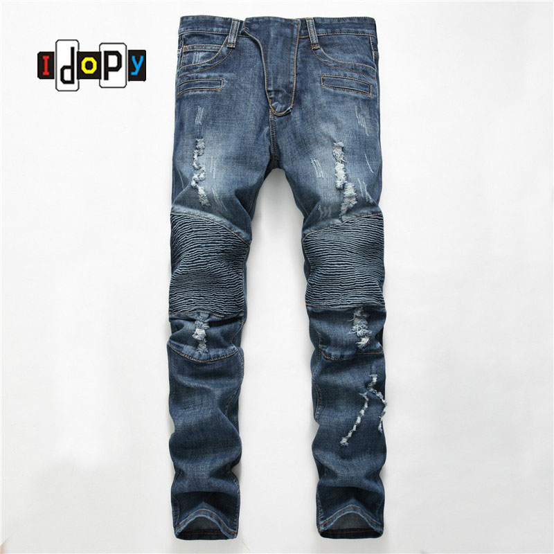 ФОТО Men's Fashion Brand Designer Silm Fit Ripped Biker Jeans Distressed Moto Denim Joggers Washed Pleated Jean Pants Blue For Men