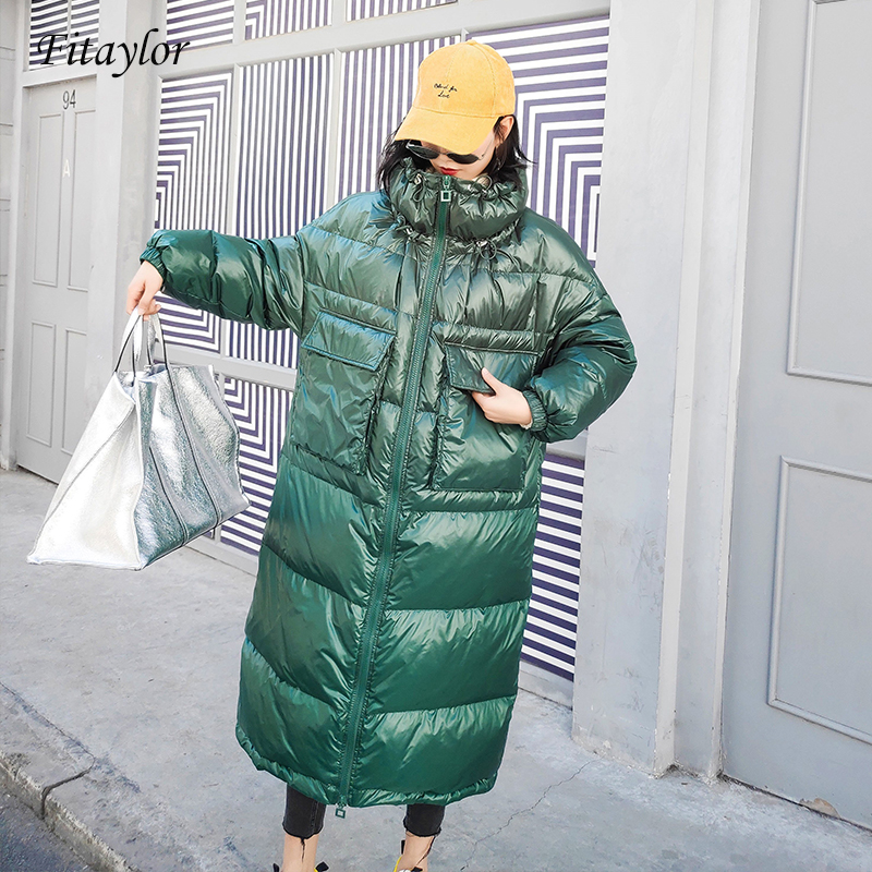 Fitaylor Winter Long Jackets Women 90% White Duck   Down   Parkas   Down   Jacket Women Stand Collar   Coats   Warm Casual Snow Outwear