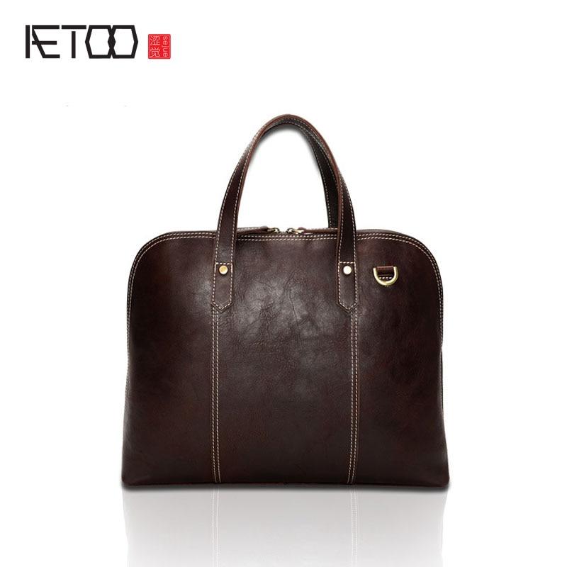 AETOO Men 's Leather Briefcase Oil Purple Leather Men' s Bag Shoulder Messenger men
