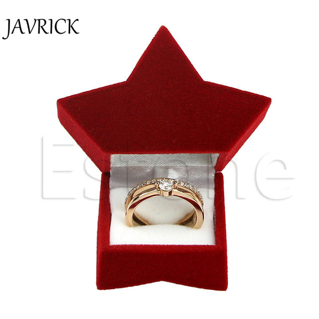 Elegant Red Star Shape Velvet Jewelry Ring Box Earring Ear Stud